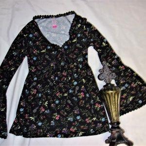 NEW woman  Small tunic boho black floral shirt